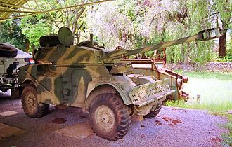 Zimbabwe National Army - Former ZNA Eland Mk4 armoured car at the Zimbabwe Military Museum, Gweru.