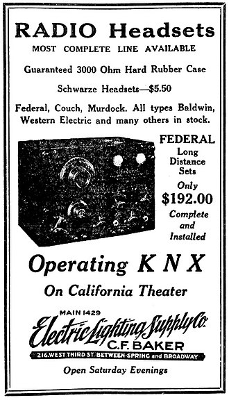 KNX (AM) - April 1923 Electric Lighting Supply Company advertisement promoting its operation of KNX at the California Theater.