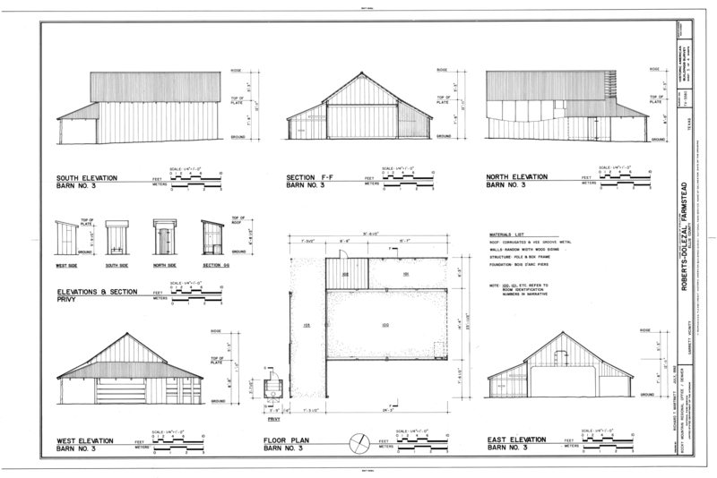 File elevations section and floor plan of barn no 3 for Garrett home plans
