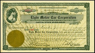 Elgin (automobile) - Share of the Elgin Motor Car Corporation, issued 14. November 1916