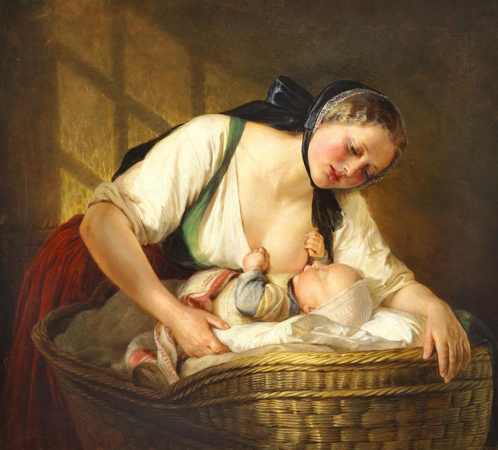 Элизабет Иерихау Бауман - En Moder med sit Barn - 1852.png