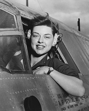 Women Airforce Service Pilots - Elizabeth L. Gardner, WASP member, at the controls of a B-26 Marauder.