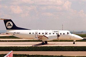 Delta Air Transport - An Embraer EMB 120 Brasilia of Delta Air Transport at Stuttgart Airport in 1988.