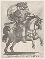 Emperor Vespasian on Horseback, from the series The First Twelve Roman Caesars, plate 10 MET DP857131.jpg
