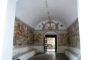 Tepotzotlán - Murals in the back entrance to the Museum of Viceroyalty of New Spain