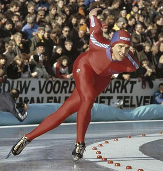 Descente - Eric Heiden wearing a Descente racing suit at the 1980 World Allround Speed Skating Championships for Men