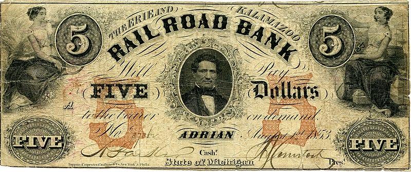 банкнота Железнодорожного банка, в штате Мичиган