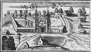 "Osterhofen Abbey - Copper engraving of the Monastery by Johann Ulrich Kraus from the ""Churbaierischen Atlas"" of Anton Wilhelm Ertl, 1687"