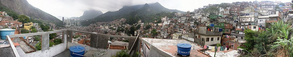 "Panoramic photo of Rocinha shanty town (""favela""), one of the largest in the world."