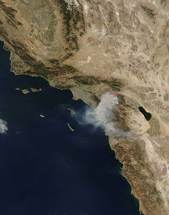 Esperanza Fire - NASA satellite image of the Esperanza Fire