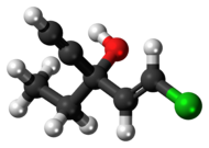 Ball-and-stick model of the ethchlorvynol molecule