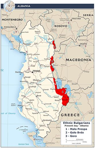 Bulgarians in Albania - Map of the tree regions Mala Prespa, Golo Brdo and Gora in Albania, where Bulgarians mainly live today.