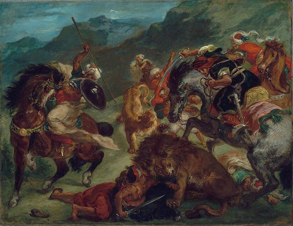Eugène Delacroix - Chasse au lion (1858)