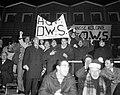 Europacup Lyn tegen DWS 1-3 te Oslo, DWS-supporters met spandoeken, Bestanddeelnr 917-1421.jpg