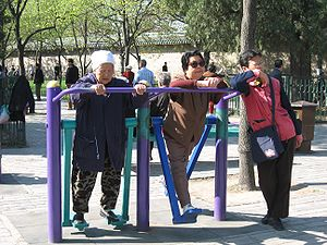 Exercising in a park in China