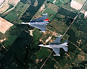 F-16 and F-16XL aerial top down view