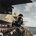 F9F-8 Cougar tails of VF-91 on USS Kearsarge (CVA-33) c1956.jpg