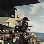 F9F-8 Cougar tails of VF-91 on USS Kearsarge (CVA-33) c1956.jpg