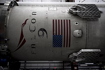 Falcon 9 first stage in hangar.jpg