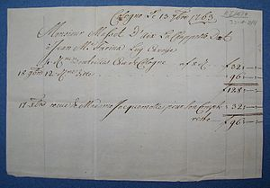 Johann Maria Farina - Invoice for Eau de Cologne 1763
