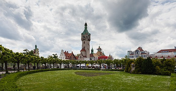 Lighthouse and garden at the Zdrojowy Square, Sopot, Poland