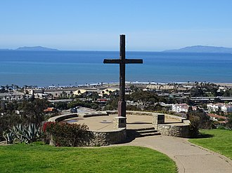 California Historical Landmarks in Ventura County, California - Image: Father Serra Cross with Ventura County Fairground and Channel Islands in background