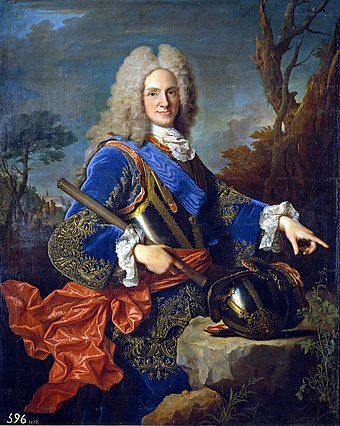 Philip V of Spain (r. 1700-1746), the first Spanish monarch of the House of Bourbon. During his rule, Spain defeated an Austrian and British invasion of Spain but lost control of Italy during the War of the Spanish Succession (1701-1714), conquered Oran from the Ottoman Empire (1732), recaptured Naples and Sicily during the War of the Polish Succession (1733-1735), and fought in the War of the Austrian Succession (1740-1748), briefly conquering Milan, Parma, and Piacenza. Felipe V de Espana.jpg