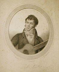 "Fernando Sor. ""Goubeau pinxit. Lith: de Engelmann. Litho.� par Bordes"". Lithography by Gottfried Engelmann (1788-1839) and Joseph Bordes (1773-1835) after a lost painting by Innocent-Louis Goubaud. Ca. 1825."