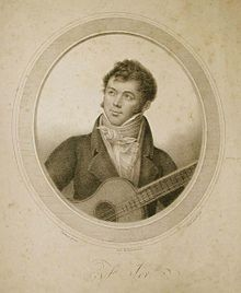 A monotone image of Fernando Sor playing the guitar