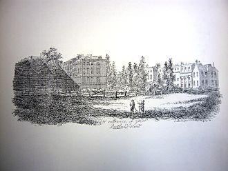 Great Portland Street - Fields north of Great Portland Street in the late 1700s