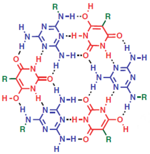Supramolecular polymers - Image: Fig 1. An example of supramolecular polymers with quadruple hydrogen bonds