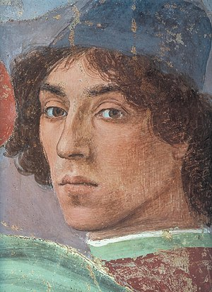 Filippino Lippi - Self-portrait. Detail from The Dispute with Simon Magus (1481–1482) Fresco. Brancacci Chapel, Santa Maria del Carmine, Florence, Italy.