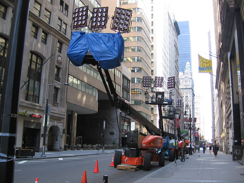 Lighting equipment on the set of The Sorcerer's Apprentice, being filmed in its setting of New York City.