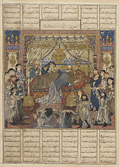 The Iranians place the Arab king Zahhak on the throne