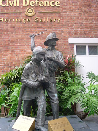 Singapore Civil Defence Force - Statue of firefighters in front of the Civil Defence Heritage Gallery, co-located with Central Fire Station