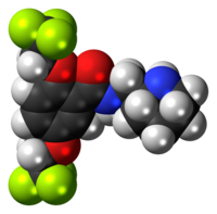Space-filling model of the flecainide molecule