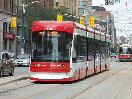 The Toronto Transit Commission operates largest and busiest streetcar system in North America. Flexity outlook 4403 heading south, 2014 08 31 (8) (14918534190).jpg