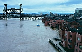 Willamette Valley Flood of 1996 - Flooding just north of downtown Portland in February 1996, viewed looking southeast  towards the Steel Bridge