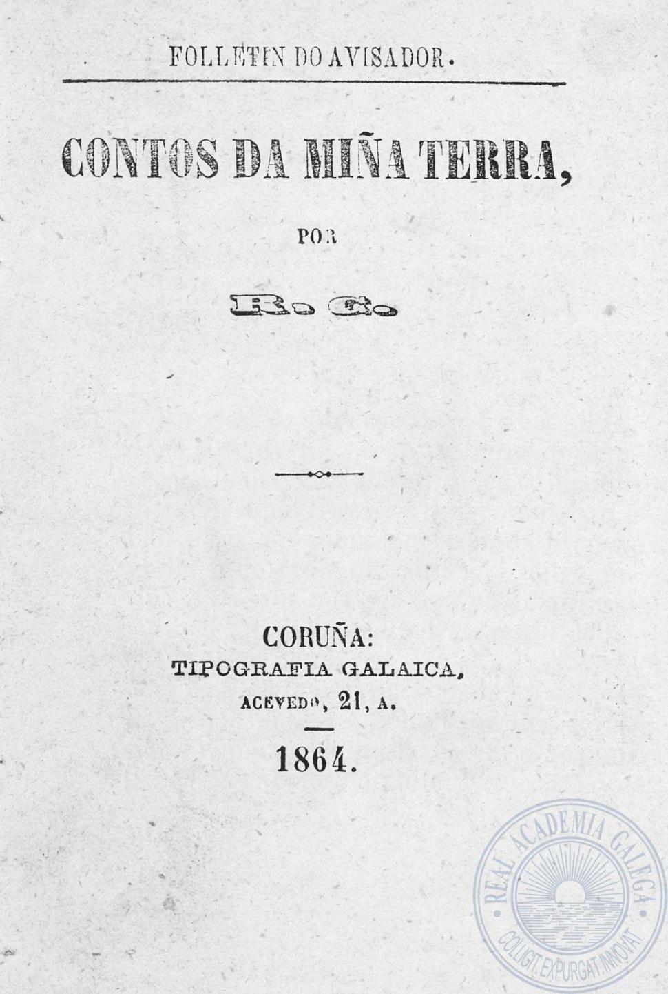 Contos da miña terra, 1864, despois publicado como Conto gallego.