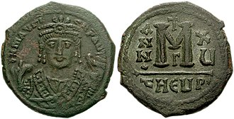 Byzantine Empire - Follis with Maurice in consular uniform.