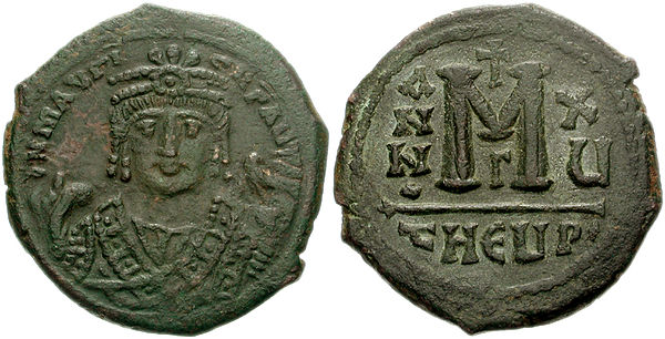 Follis with Maurice in consular uniform. Follis Maurice Constantinople.jpg
