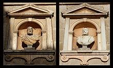 I busti di marmo collocati ai lati del palazzo municipale, raffiguranti i due «padri fondatori» della città: a sinistra Gneo Pompeo Strabone, a destra Federico Barbarossa