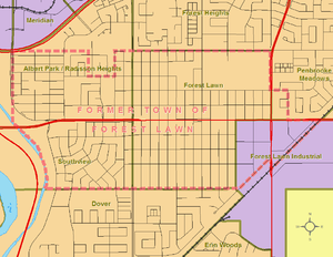 Forest Lawn, Calgary - Boundaries of former town (circa 1960) and current neighbourhood