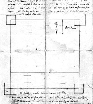 William Dummer - Page from a 1724 letter by Captain Thomas Stoddard describing plan for Fort Dummer