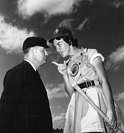 Fort Wayne Daisies player, Marie Wegman, of the All American Girls Professional Baseball League arguing with umpire Norris Ward Opa-locka, Florida.jpg