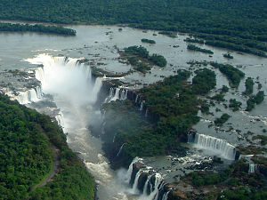 Waterfall - Aerial view of Iguazu Falls on the Iguazu River between Brazil and Argentina