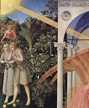 "Annunciation (Fra Angelico, Madrid) - Detail: Adam and Eve hunted out of Paradise ""walking on the roses of the garden of Mary"""
