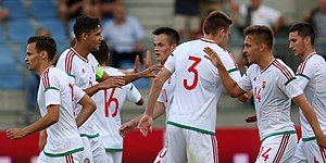 Hungary national under-21 football team - Hungary U-21-national football team goal celebration against Austria