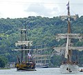 From left to right The Etoile du Roy, the Kruzenshtern and the Le Français on the last day of the Rouen Armada 2019, on the River Seine from Rouen to Le Havre ... (48087384258).jpg