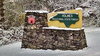 Holmes Educational State Forest - Image: Front Sign In Snow